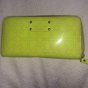 kate spade neon green wallet